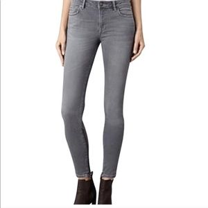 All saints rail skinny gray jeans distressed